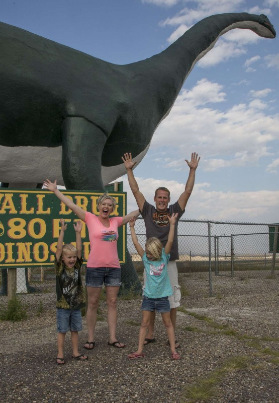It's hard to miss the 80 foot dinosaur as you close upon Wall Drug